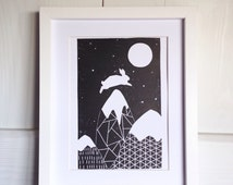 White Rabbit Print - mountain print - moon print - geometric print.