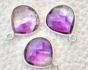 925 Sterling Silver,MOSS AMETHYST Faceted Heart Shape Pendent,1 Piece of 15mm