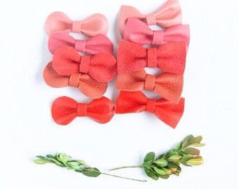 Mini Leather Hair Bow Crocodile Clip or Nylon Headband, Coral, Salmon, Pumpkin Orange Ombré Baby Bow, Adult Bow, Neutral Hair Accessories