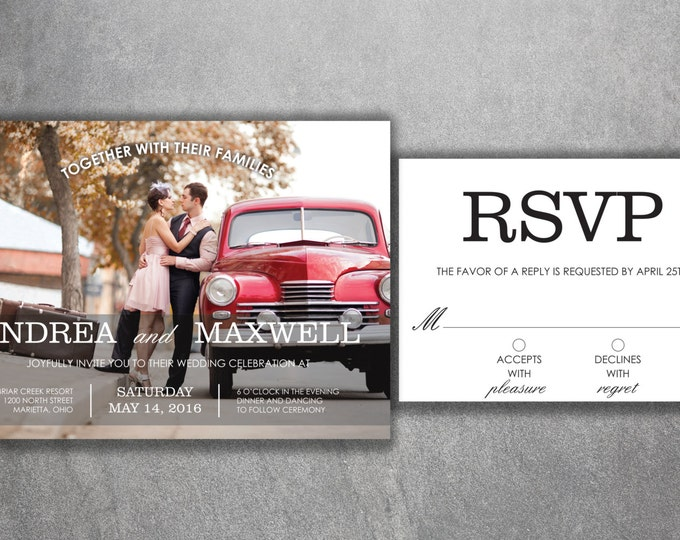 Affordable Photo Wedding Invitations Set Printed - Cheap, Photo, Modern, Engagement photo, Invite, RSVP