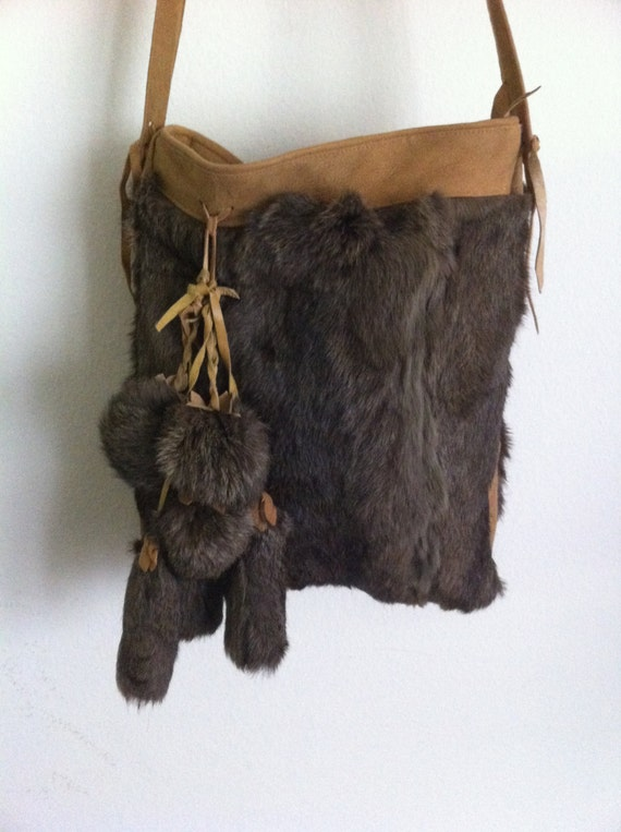crossbody bag from real rabbit fur and suede has long suede. Black Bedroom Furniture Sets. Home Design Ideas