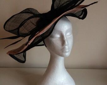 Chanix pink and black large fascinator hat
