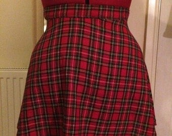 Tartan Red Plaid Half Circle Skirt