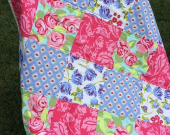 Baby Girl Quilt; Crib;  Pinks;  Purples;  Greens;  Flowers;  Amy Butler;  Handmade