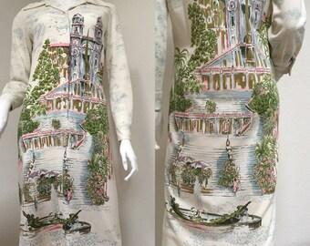 SERBIN Novelty Print CITY SCENE Shirt Dress Vintage 70s Poly Knit Postcard To Wear