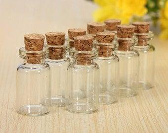 Mini Vials, Wishing Glass Bottle, Transparent, 23mm x 13mm, 2 pcs