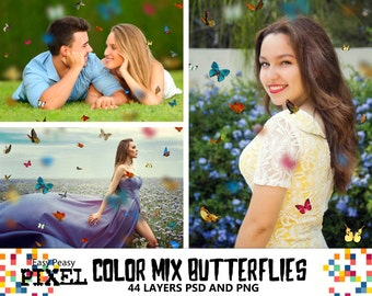 Color Mix BUTTERFLIES Photoshop Overlays, Photoshop Overlay, Butterflies Overlays, Garden Photography, Spring Overlays, PSD and PNG files