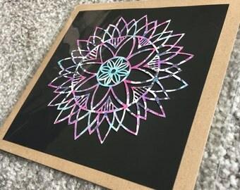 Kaleidoscope mandala paper cut card