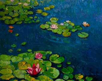 Lilies in the lake.Instant download.JPG and TIFF files for printing an original oil painting.
