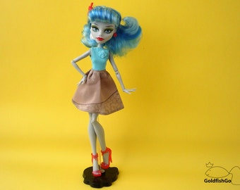 Blue dress for monster high. 60s style for Ghoulia. Romantic pin-up clothes