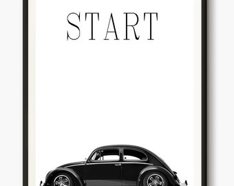 VW Beetle, VW Bug, Volkswagen Poster, Volkswagen Art, Beetle Photo, Inspirational Words, Vintage Car, Photography Art, Retro Vintage Art