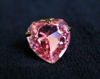 Handmade Pink Crystal Heart Ring