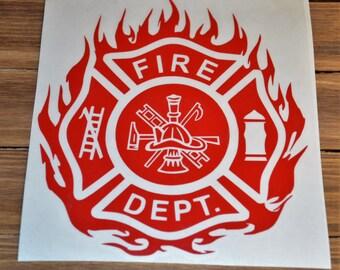 Fire Department Dept. Red Car Truck Decal / Sticker