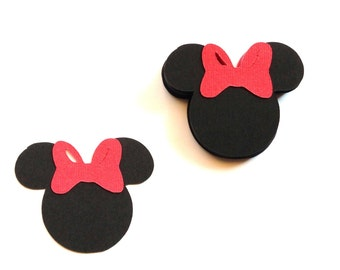 50 Minnie Mouse Die Cuts - Minnie Mouse Party Decorations - Minnie Mouse Confetti - Minnie Mouse Baby Shower - 2.5 inches from ear to ear