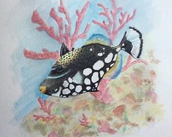 Triggerfish watercolor sea coastal style