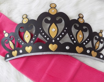 Crib Canopy, Bed Crown Black and Gold Princess Wall Decor