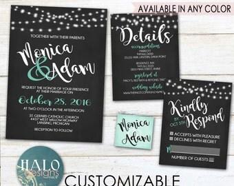 Navy Wedding Invitation Set - Black & Mint