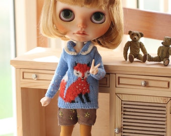 Blythe sweater The fox/Blythe clothes/handmade/knitting/vest/outfit/clothe/licca