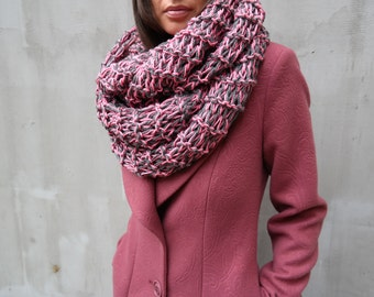 Fashion unique scarves, Infinity winter huge tube scarf, Hand knit oversized pink grey scarf, wool shawl, Crochet cowl giant scarf