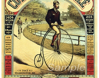 Vintage Penny Farthing Bicycle Advertising Poster Print