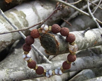 Womens Brown Lava Stone Bracelet w/Tibetan Gold Spacers & Agate Beads Grounding Crystal Fashion Jewelry Necklace Handmade Healing