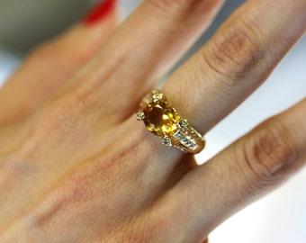 Yellow Stone  Gold Ring, 10k Yellow Gold Citrine Diamond Ring