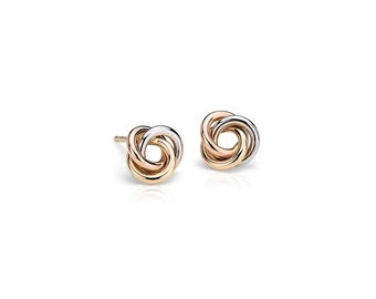 Petite Love Knot Earrings in Tri-Color Sterling Silver