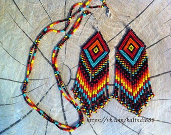 Bright ethnic set of earrings and necklaces . Native American Beadwork.