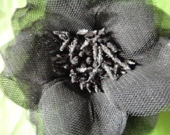 vtg large Black rose Brooch pin mesh net rose flower vintage jewelry wedding