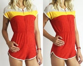 1970's Vintage Color Block Terry Cloth and Mesh Romper