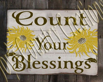 Count your Blessings Sunflowers  SVG, PNG, JPEG