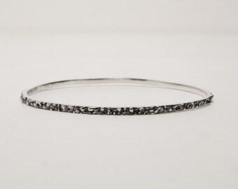 Textured Oxidized Silver Bangle