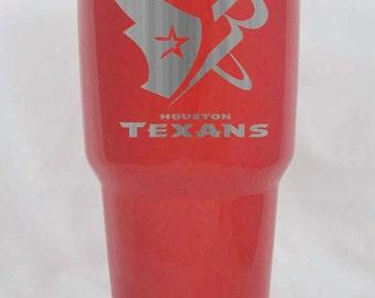 Houston Sports Texans Rockets Red powder coated 30 oz Yeti custom