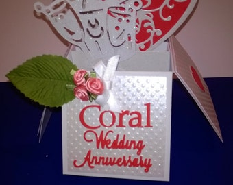 Beautiful handmade 35th Coral wedding anniversary pop up greetings card