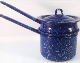 Mid-Century Cobalt Blue Graniteware Double Boiler