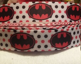 3 yards, 7/8' grosgrain ribbon pink and black Batman design
