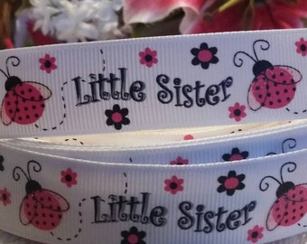 "3 yards, 7/8"" pink lady bug and flowers Little Sister design grosgrain ribbon"