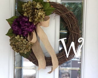 All Season Wreath, Fall Wreath, Green And Purple Hydrangea Wreath, Monogram Wreath, Hydrangea Wreath,  Year Round Wreath , Spring Wreath.