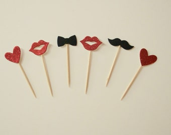 6 Cupcake Toppers love red&black