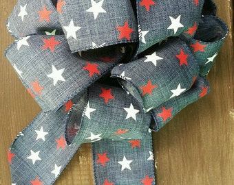 """8"""" patriotic wreath bow with red white and blue stars. Independence day Memorial Day Fourth of July"""