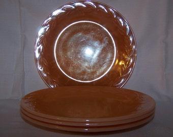 Vintage Fire King Peach Luster Dinner Plates Set of 4