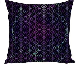Black Flower of Life Pillow Case -Multiple Sizes - Sacred Geometry Pillow Sham