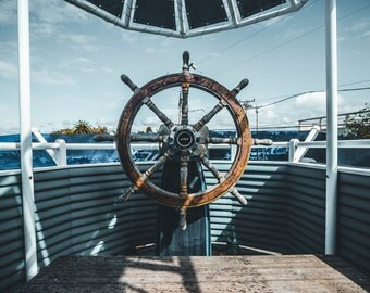 Steering Wheel Photo - Ship Photo - Navigation - Nautical - Marine - Digital Photo - Digital Download - Instant Download - Men Room Decor