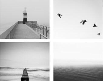 Nautical - Nautical Photo - Sea - Sea Photography - Seaside Photo - Black and White - Set of 4 - Digital Photo - Digital Download - Sale