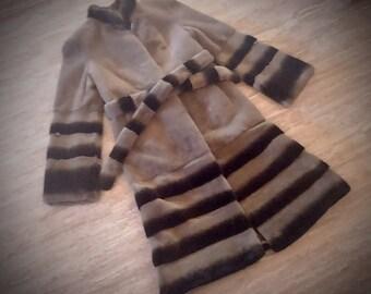 Fur coat/ Real rex fur/ olive green color