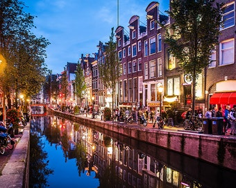 Amsterdam, Netherlands, Holland. Sunset view of the Red Light disctrict, home decor