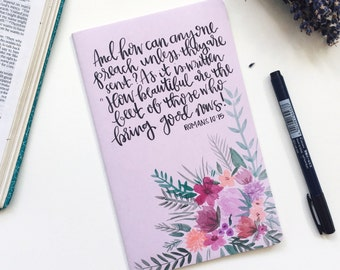 Hand painted floral moleskin journal ft. Verse or quote of choice
