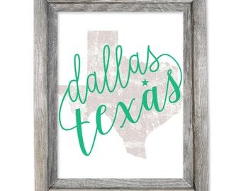 Dallas Texas 8x10 Print / Canvas Texture / Wall Art