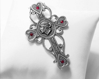Cross antique 925 sterling silver and Ruby