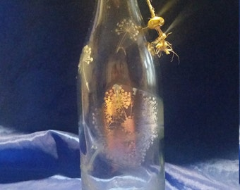 Dandelion Designed Incense Burning Bottle | Silver | Clear Recycled Wine Bottle | Nature | Some see a Wish others see a Weed | Yellow Bead |